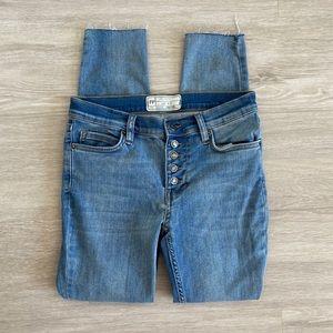 Free People High Rise Fray Raw Hem Skinny Jeans 25